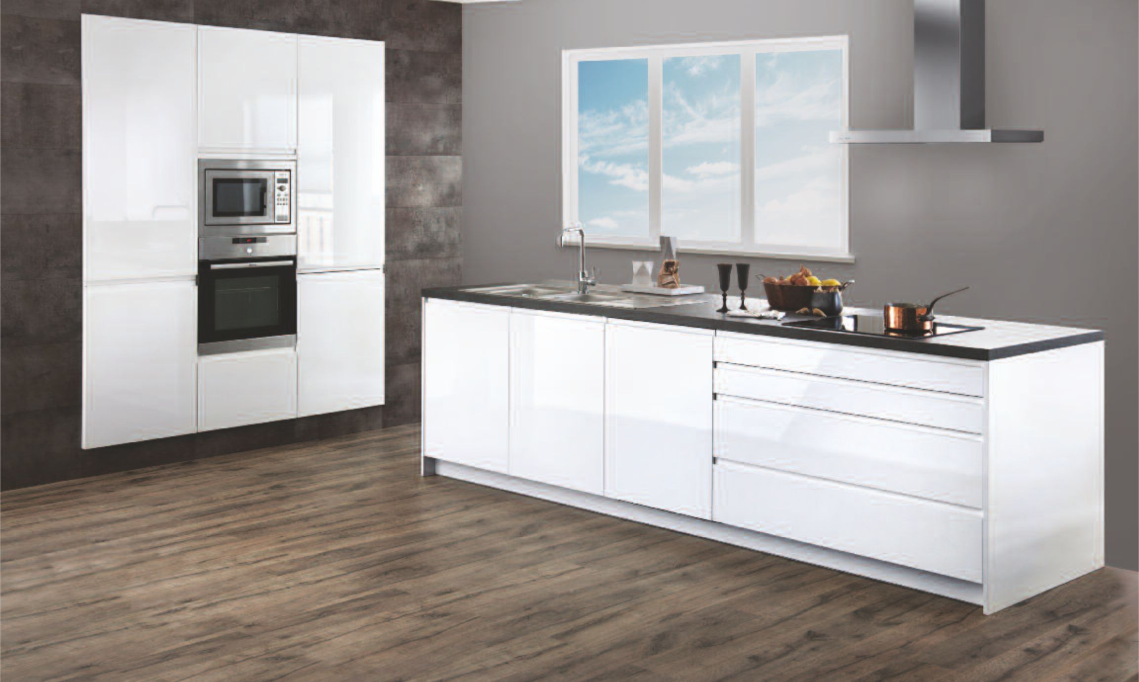 Moderne keuken, hoogglans wit - Kristal Keukens Gorredijk Heerenveen